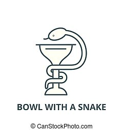 Bowl with a snake vector line icon, linear concept, outline sign, symbol