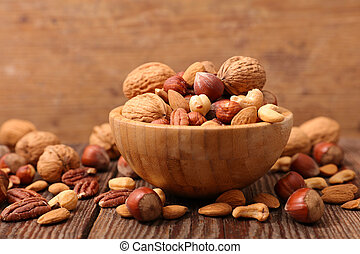 bowl with assorted of nuts fruits