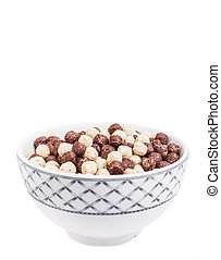 Bowl with corn balls isolated on white background