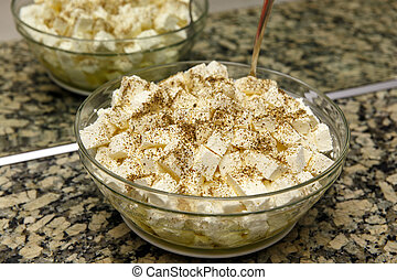 Bowl with cubes of feta cheese