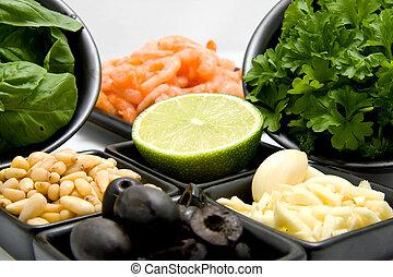 Bowl with food ingredients
