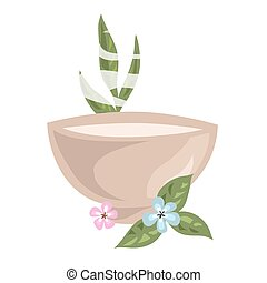 Bowl with hot cosmetical means for spa procedure and...