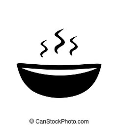 bowl with hot soup icon- vector illustration