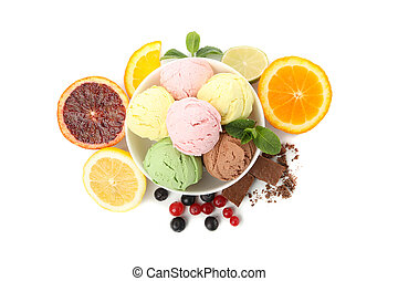 Bowl with ice cream and fruits isolated on white background