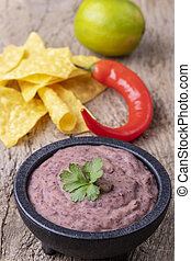 bowl with mexican frijoles refritos