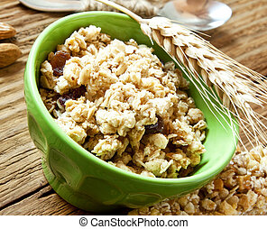 Bowl with Muesli Cereals and Wheat Ear, Healthy Breakfast