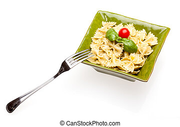 Bowl With Pasta On White