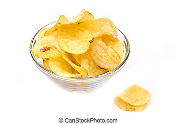 Bowl with potato chips on white background