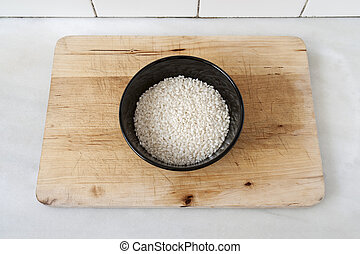Bowl with raw rice