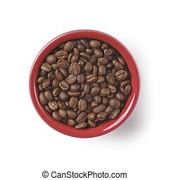 Bowl with roasted coffee beans isolated on white.