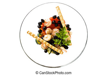 Bowl With Shrimps Salad And Breadsticks