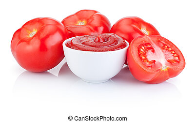 Bowl with tomato sauce and juicy red tomatoes isolated on white background