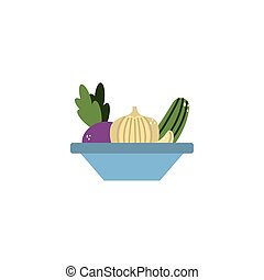 bowl with vegetables flat style icon