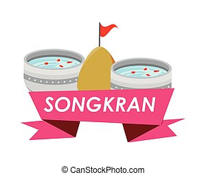bowl with water songkran ribbon