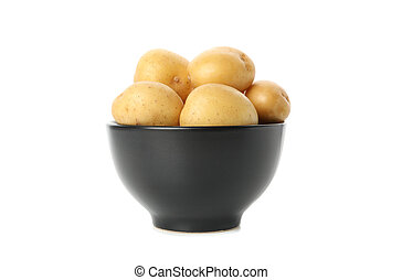 Bowl with young potato isolated on white background