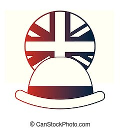 bowler, bottone, eleganza, bandiera, inglese, cappello