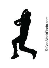 bowler, fiar, desporto, -, grilo, salto, silueta