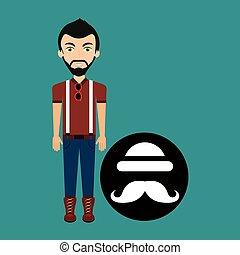 bowler, giovane, hipster, cappello, baffi, uomo