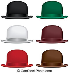 A bowler or derby hat selection in black, gray, red, green, burgundy and brown colors.