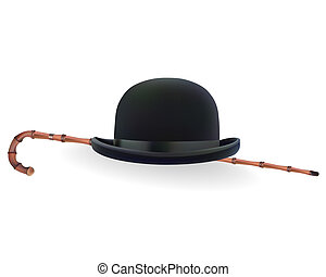 bowler hat and bamboo cane on a white background