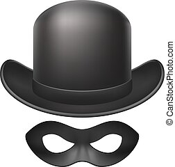 Bowler hat and eye mask in black design on white background