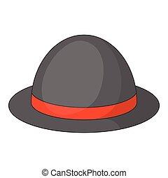 Bowler hat icon, cartoon style