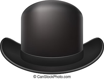 Bowler hat in dark design on white background