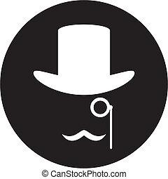 bowler hoed, mustache