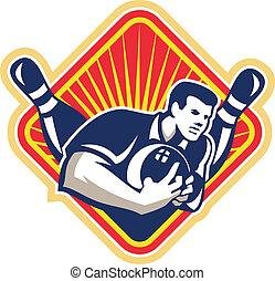 Bowler Pose Bowling Ball Pins Retro