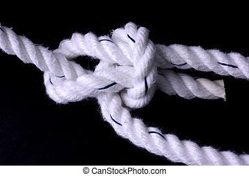 Bowline Knot - Bowline knot, tied with a white rope, on ...
