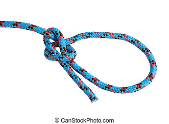 Bowline knot isolated on white - A fine knotted bowline in ...