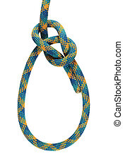 bowline knot - bowline loop knot in yellow, blue, and green...