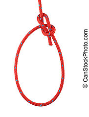 Bowline Knot Tied in Red Rope Isolated on White