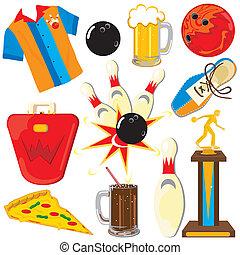 bowling, éléments, clipart, icônes