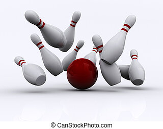 Bowling 1 - A red bowling ball, knocking the skittles -...