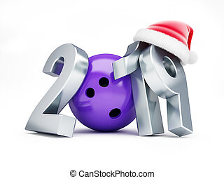 bowling 2019 new year on a white background 3D illustration, 3D rendering