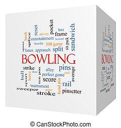 Bowling 3D cube Word Cloud Concept