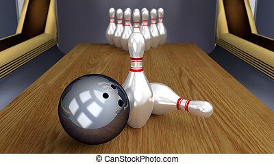 Bowling 3D Sport - Ball Pins Racked