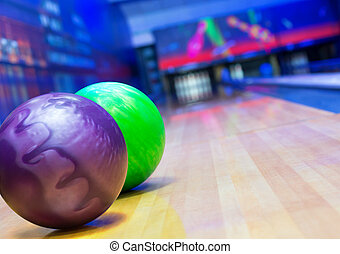 Bowling alley - Balls on bowling alley against ten pins