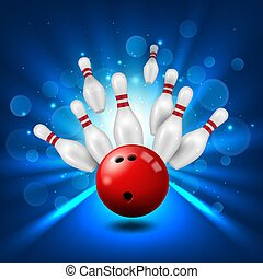 Bowling alley, skittles and ball in ninepin strike