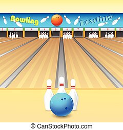 vector illustration of skittle and bowling ball on wooden floor
