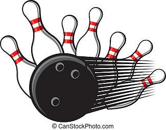 bowling bal, botsen, in, de, spelden