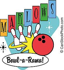 bowling bal, spelden, retro, knip kunst