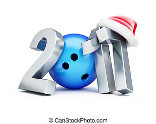 Bowling Ball 2017 new year santa hat on a white background 3d Illustrations
