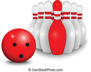 Bowling ball and pin. business conc