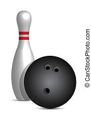 bowling ball and pin illustration