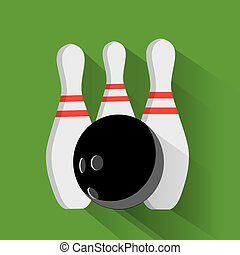 Bowling ball and pin vector set isolated from the background. Icons for a bowling alley or game in a flat style.
