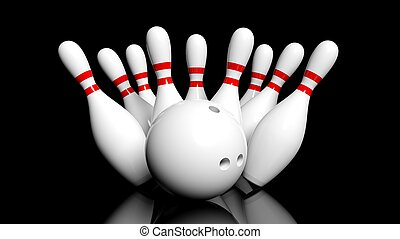 Bowling ball and pins isolated on black background