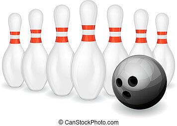 Bowling ball and pins - Row of bowling pins and black...