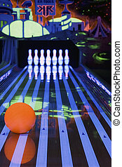 Bowling ball and pins - Orange bowling ball with pins.